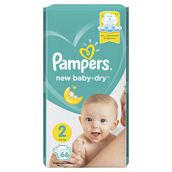 Подгузники PAMPERS New Baby мини (4-8кг), 66 шт.