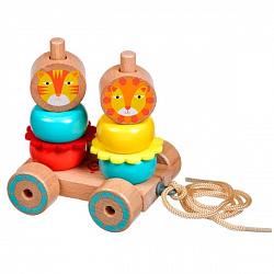 Деревянные игрушки Lucy&Leo LL155 Каталка-пирамидка 'Лев и Львица'