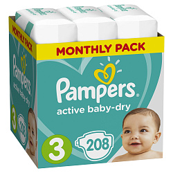 Подгузники PAMPERS Active Baby-Dry Midi (5-9 кг), 208 шт.