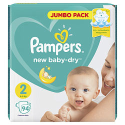 Подгузники PAMPERS New Baby мини (4-8кг), 94 шт.