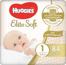 Подгузники Huggies Elite Soft 1, 3-5 кг, 84 шт.