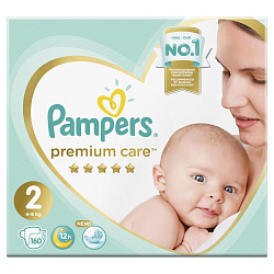 Подгузники PAMPERS Premium Care New Baby (4-8 кг), 160 шт.