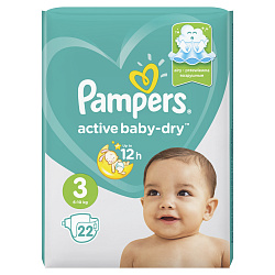 Подгузники PAMPERS Active Baby миди (6-10кг), 22 шт.
