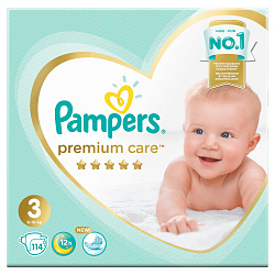 Подгузники PAMPERS Premium Care Midi (6-10 кг), 114 шт.