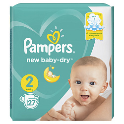 Подгузники PAMPERS New Baby мини (4-8кг), 27 шт.